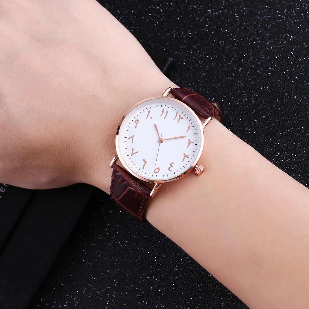 New Style Bamboo Joint Pattern Business Casual Muslim Watch Foreign Trade Hot Sales Arab with Numbers Watch Manufacturers Wholes