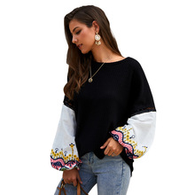 Echoine Women sweater Autumn winter knit stitching top female print embroidery cardigan ladies pullover Long Sleeve clothes