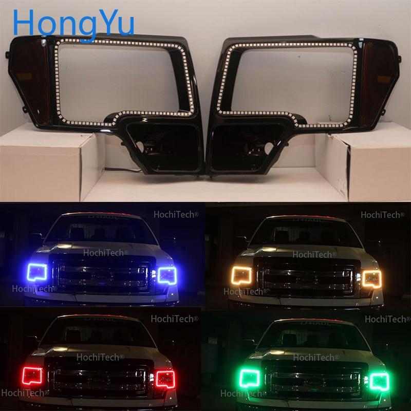 Для Ford F 150 F150 2009 2014 Отличный ИК контроллер многоцветный ультра яркий RGB светодиодный ангельские глазки Halo Кольцо Комплект - 5