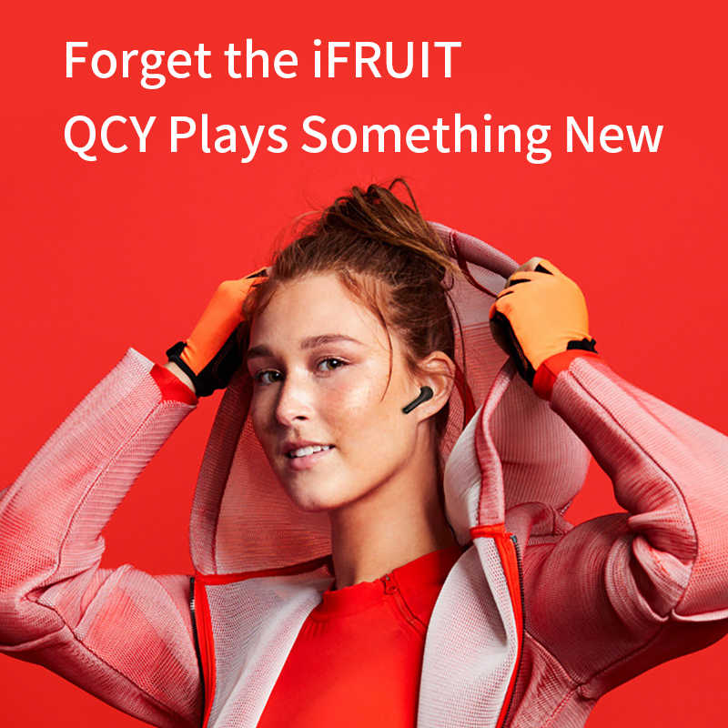 QCY T5 سماعة لاسلكية تعمل بالبلوتوث سماعات V5.0 التحكم باللمس سماعات ستيريو HD الحديث مع بطارية 380mAh