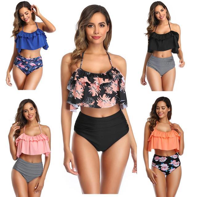 Maillot de bain femmes 2 pièces ensemble Bikini grande taille 2020 Sexy brésilien taille haute maillots de bain Push up nager bain dentelle florale décoration