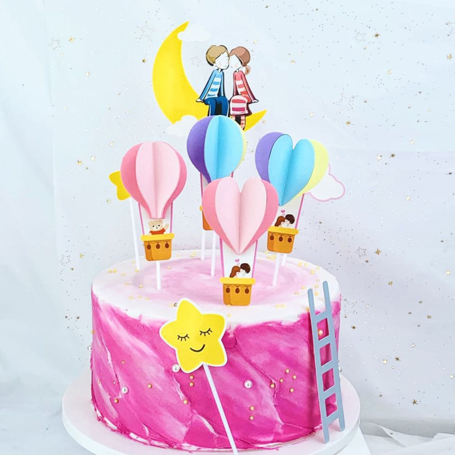 Fabulous 5Pcs Cake Topper Hot Air Balloon Animal Cake Flag Valentines Day Funny Birthday Cards Online Necthendildamsfinfo