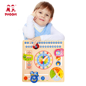 Image 3 - Wooden Calendar Toy Multifunction 6 in 1 Hanging Kids Clock Date Weather Chart Early Educational Learning Toy