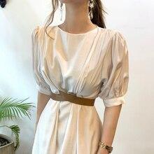 2021 New Women Summer Elegant White Long Dress Puff Sleeve Patchwork Slim Waist Zipper A-line Maxi Sundress