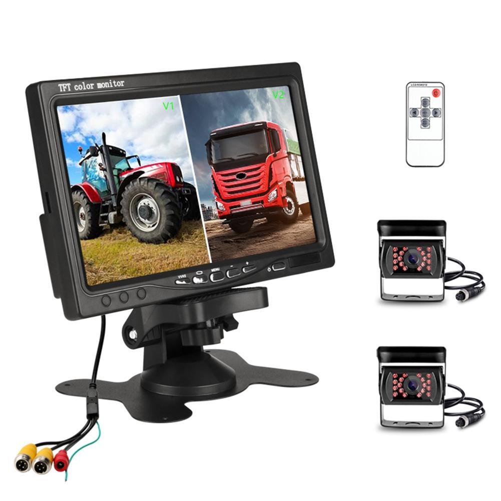7 pouces voiture moniteur 2.4G camion surveillance Vision nocturne inversion sans fil double caméra 9-36v plate-forme affichage pour camion 12V 24V