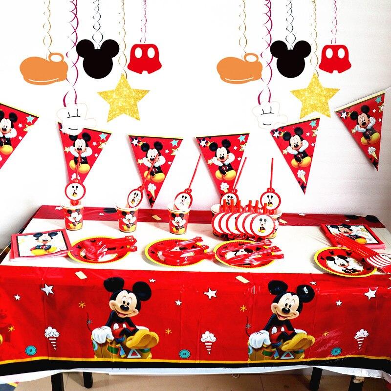 Disney Микки Маус, товары для дня рождения, одноразовая посуда, детские бумажные соломинки, Набор открыток, украшение для дня рождения Диснея