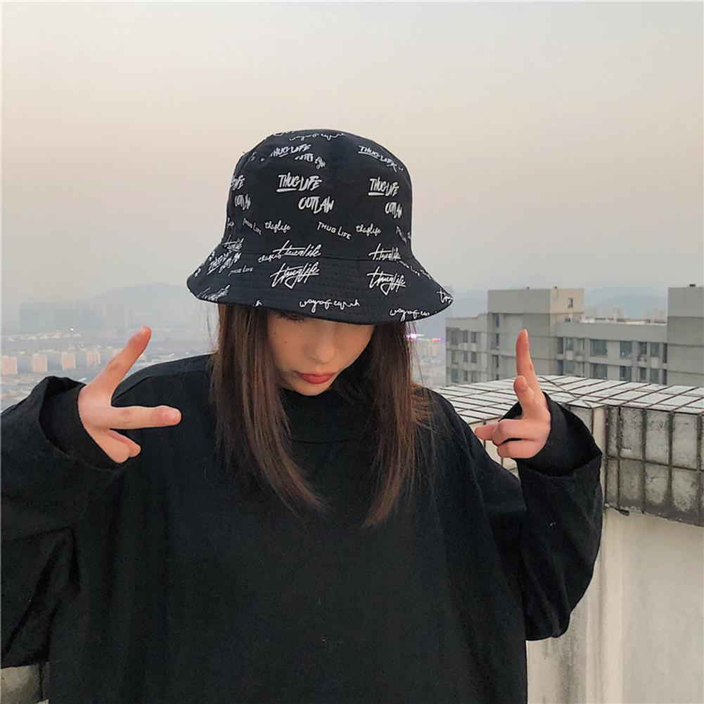 Fashion Women English Letters Cotton Reversible Sun Protection Cap Bucket Hat