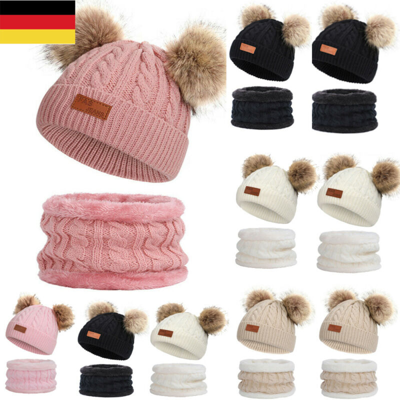 Baby Winter Warm Knitted Cap Toddler Baby Girl Boy Hat Scarf Set