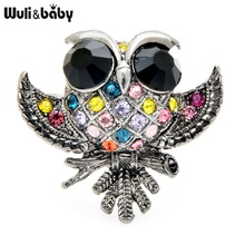 Wuli&baby Little Owl Brooches Women Alloy 3-color Rhinestone Owl Bird Party Casual Brooch Pins Gifts divya srinivasan little owl s audiobook collection