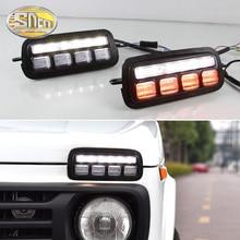 2 adet araba Styling aksesuarları LED gündüz farları için Lada Niva 4x4 1995 2019 dönüş sinyal ışığı lambası DRL park lambaları