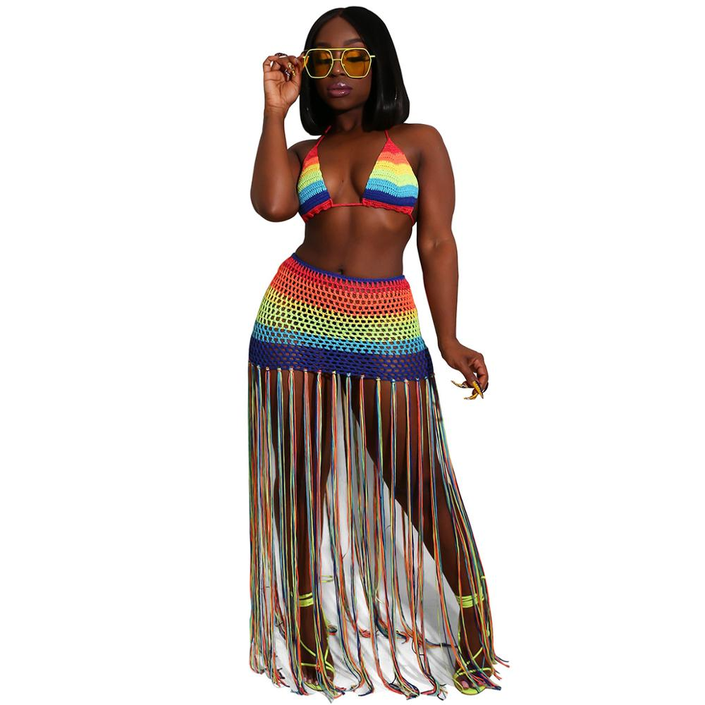 Summer 2 Piece Sets Womens Outfits Sexy Crop Top And Hollow Out Skirt Set 2020 Fashion Tassel Tracksuit See Through Beach Sets