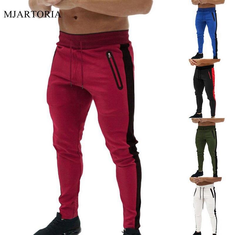 Men Fashion Running Pencil Pants Fitness Clothing Gym Jogger Drawstring Sport Trouser Casual Workout Stripe Sportwear Sweatpants