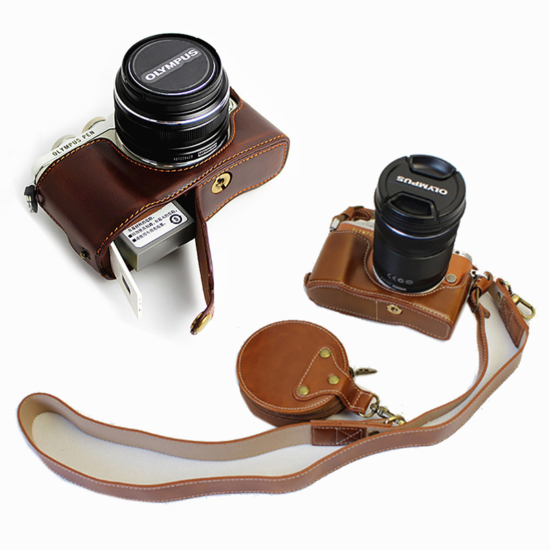 Pu Leather Case Half Body Cover Camera Bag For Olympus Pen E Pl9 E Pl8 Epl7 Epl8 Epl9 Protector Shell Strap With Battery Opening Camera Video Bags Aliexpress