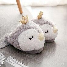 Suihyung kış peluş terlik kadın yumuşak sıcaklık ev kabarık üzerinde kayma kürklü slaytlar kadın kapalı pamuklu ayakkabılar penguen Flip flop