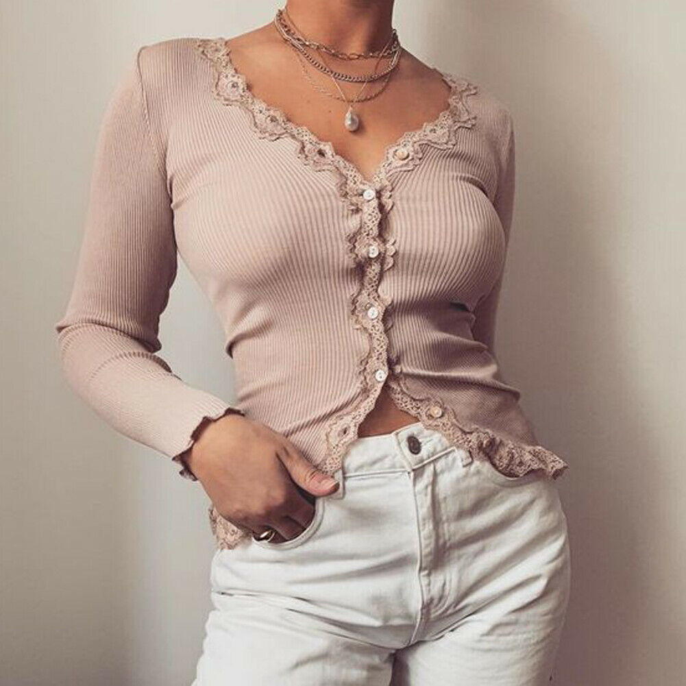 Fashion Womens Button V-Neck Long Sleeve Sweater Top Slim Blouse Knitted Jumper Lace Flower Casual Vintage Clothes