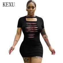 KEXU New Burning Flower Hole Women Bodycon Bandage Mini Dress Elegnat O Neck Short Sleeve Hollow Out Black Sexy Femme Dress цена и фото