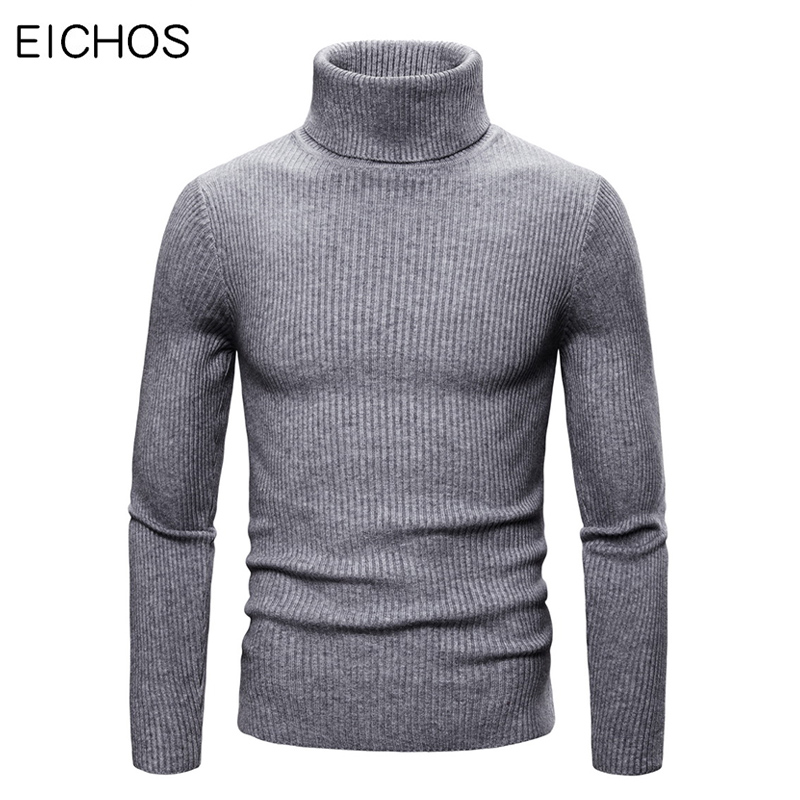 2019 New Men Sweater Elasticity Turtleneck Men Cotton Brand High Lapel Knitted Solid Casual Male Pullover Sweaters Autumn Winter