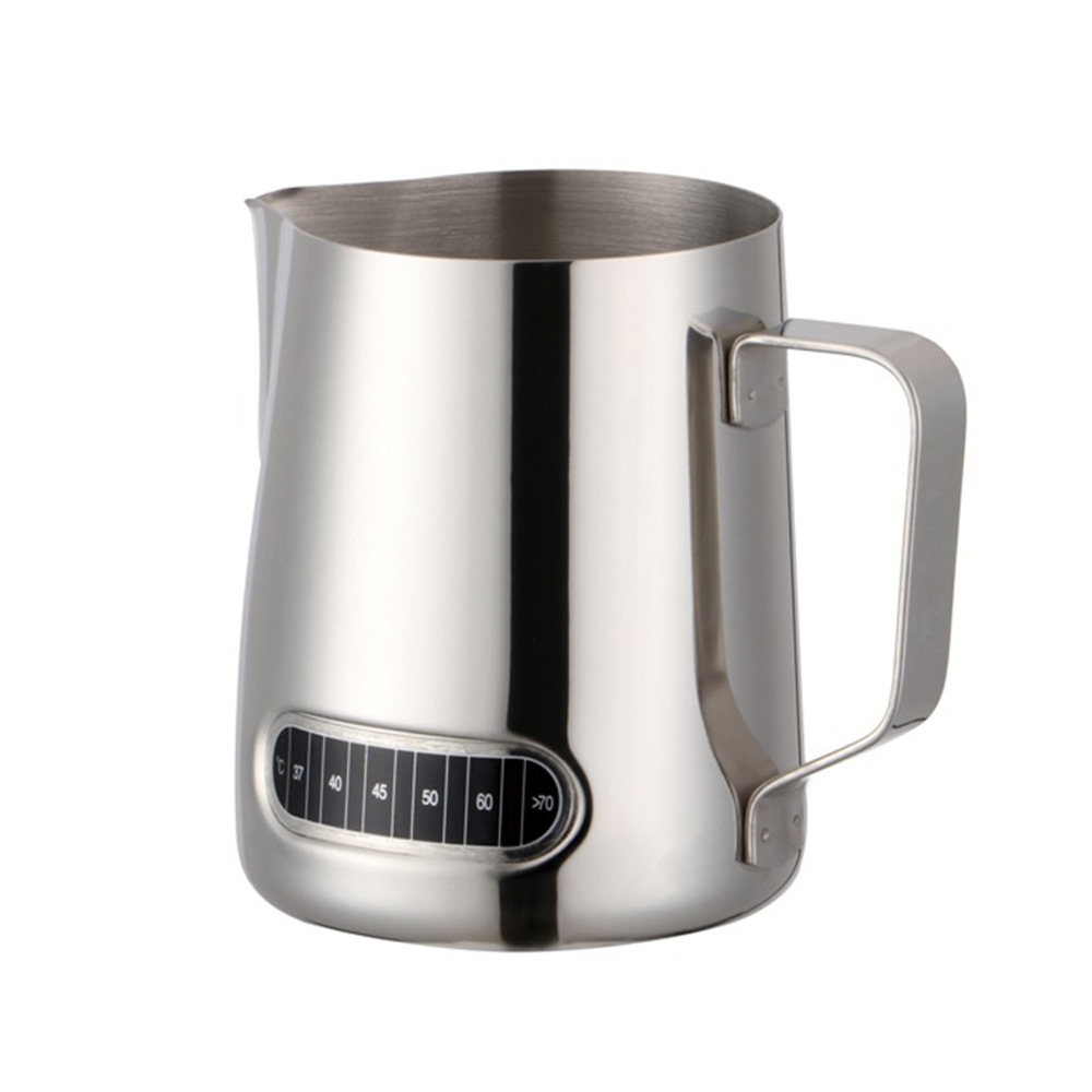 600ML Stainless Steel Milk Jug Barista Craft Coffee Latte Milk Frothing Jug Pitcher With Thermometer For Making Coffee