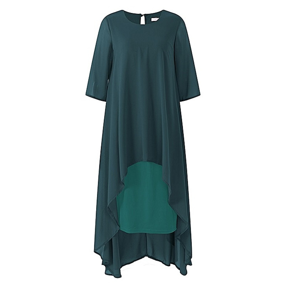 Plus Size Elegant Green Chiffon Mother Of The Bride Dresses Modest O-neck 3/4 Sleeves Wedding Party Dresses Vestido De Madrinha
