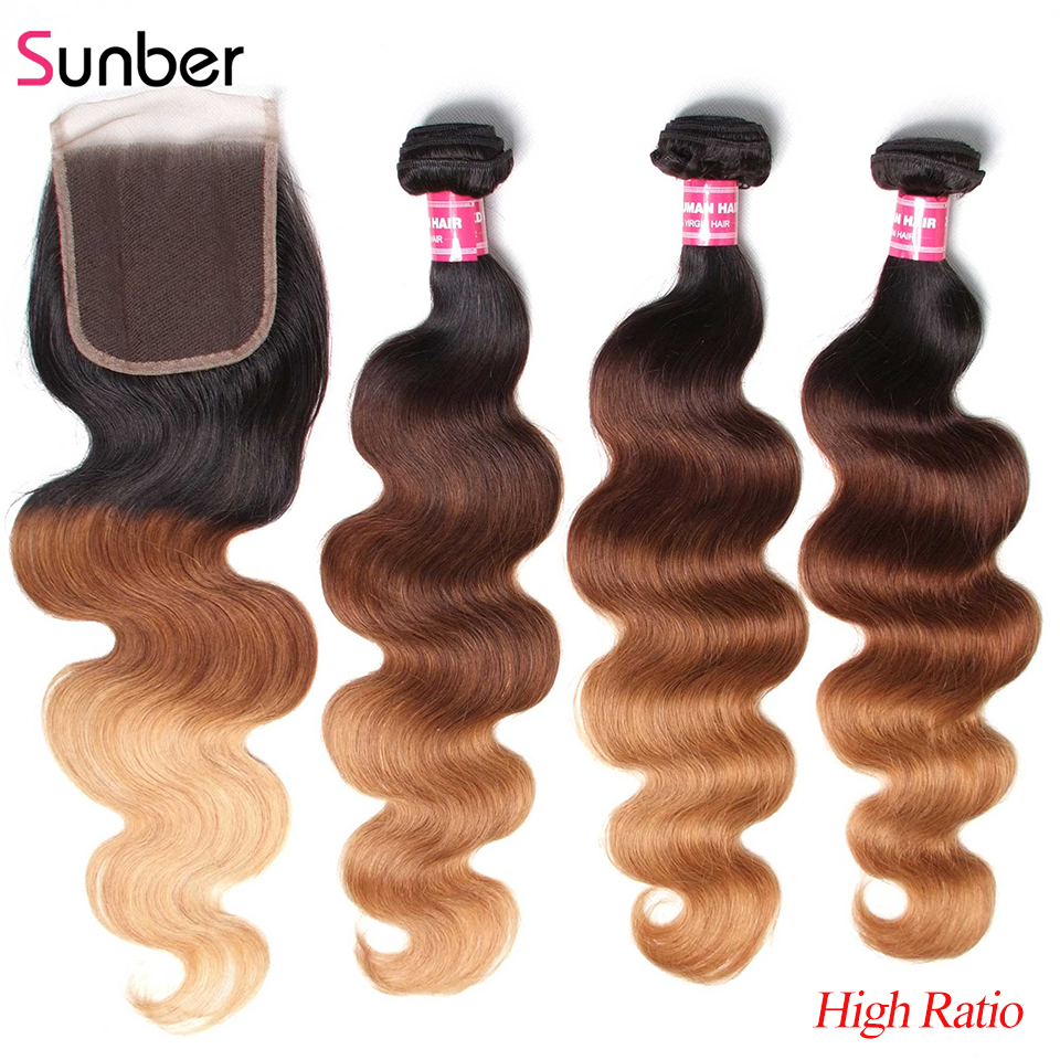 Sunber Hair 3/4 Ombre Bundles With Closure Remy Human Hair Extension 16-26 Inch T1B/4/27 Pervuian Hair Bundles With Closure