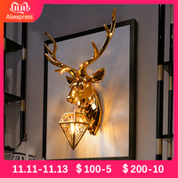 Modern Antler Wall Lamp Creative Wall Lamps American Retro Deer Wall Light Living Room Bedroom Bedside Luxury Wall Sconce Lamp