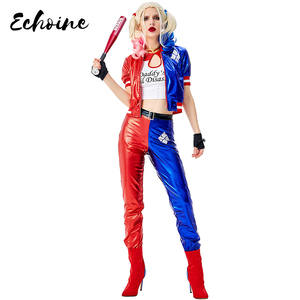 Echoine Deluxe Harley Quinn Costume Cosplay Adult Halloween Costume For Women Superhero Costume For Adult Carnival Party Suit(China)