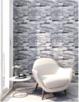 LUCKYYJ Peel and Stick Faux Brick Stone Wallpaper Gray Vinyl Self Adhesive Contact Paper Home Renovation Decorative Wall sticker bohemian geometric vinyl decorative wall sticker