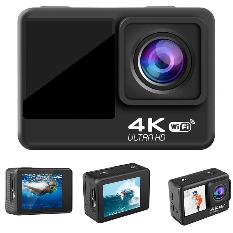 4K / 60Fps 2inch + 1.3inch Dual Screen Action Camera 170° Underwater Camera Helmet Go Sports Pro Vlog Camera