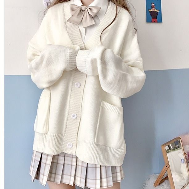 Cardigan Women Solid Oversize Harajuku Loose Sweaters Student Preppy Sweet Girl Cute Knitwear New All-match Soft Hot Sale Basic 8