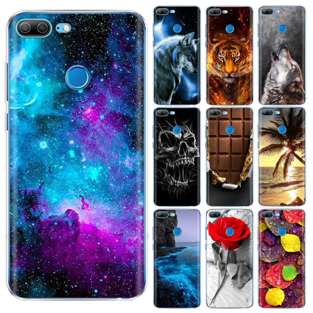 For Honor 9 Lite Case Silicon Back Cover For Huawei Honor 9 Honor9 Lite copas coque bumper shockproof protective fundas cute cat