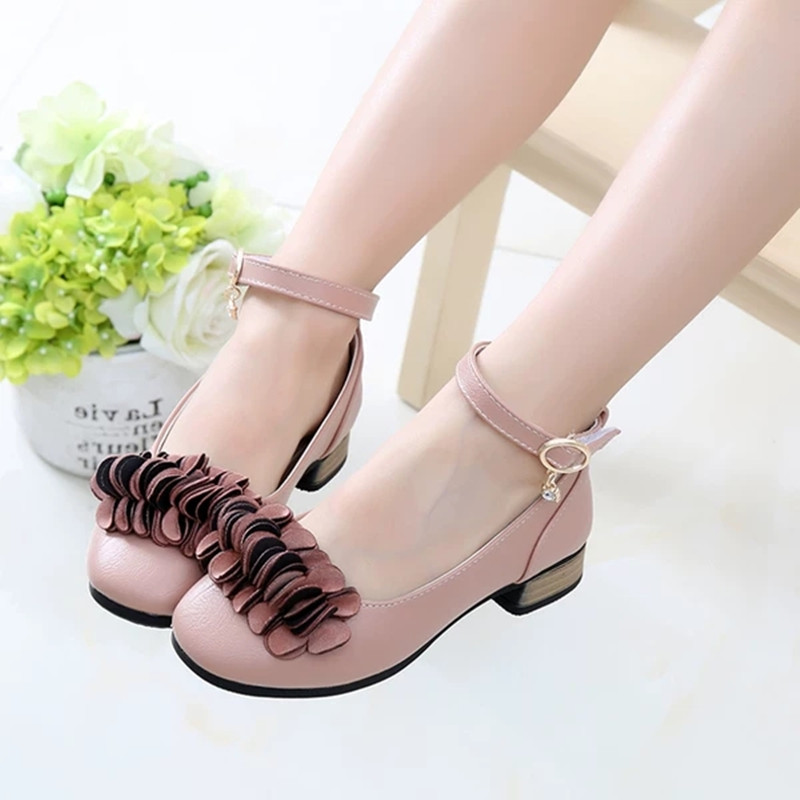 Childrens Kids Shoes Girls Leather Shoes For Student High Heeled Princess Shoes For Wedding And Party Girls Shoes Pink Black