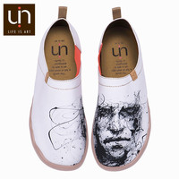 UIN Silent Man Design Hand painted Canvas Casual Shoes for Men White Loafers Wide Feet Comfort Work Shoes Lightweight Sneakers
