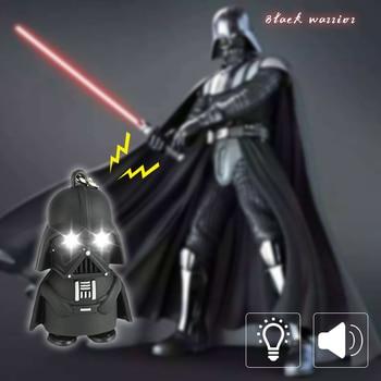 цена на Dark Warrior LED Light Keychain Flashlight D Buckle Cartoon Night Light with Sound Children Gift Black Warrior