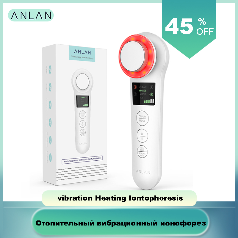Ultrasonic Vibration Heating Iontophoresis EMS Red Blue Light Facial Aesthetics Microcurrent Import Skin Moisture Clean Lift