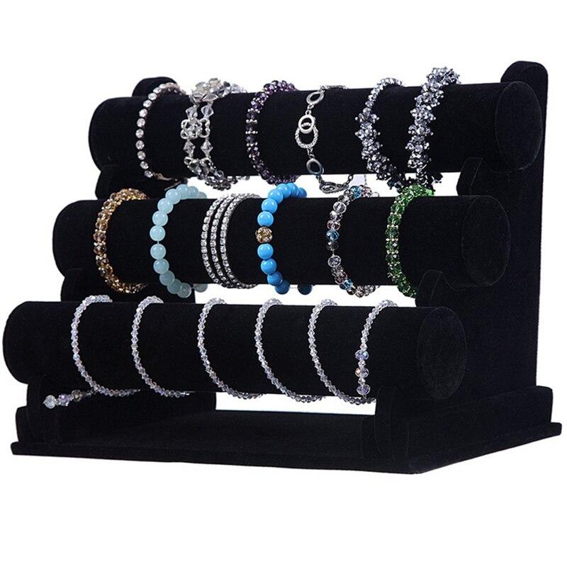 Black Velvet T-Bar Jewelry Rack Bracelet Necklace Stand Organizer Holder Display