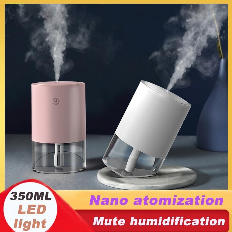 350ML Mini Air Humidifier USB Aroma Diffuser LED Mist Double Angle Nano Atomization Refresher Home Office Mute Humidification