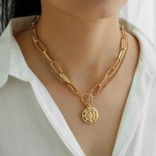 Novo gargantilha moeda colares feminino ouro do vintage layerd grossas cadeias bússola arco nó pingente colar collier femme jóias