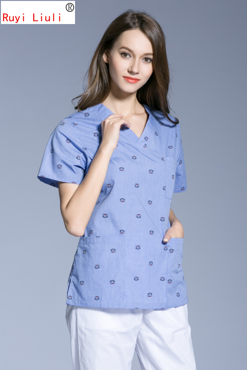 Printed Operating Wear V Collar Surgical Gown Oral Plastic Surgery Hospital Pure Cotton Hand Wash Clothes Brush