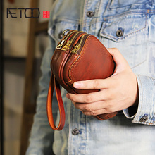 AETOO Hand-stitched leather handbag, large-capacity multi-layer pure copper zipper men's handbag, leather casual handbag