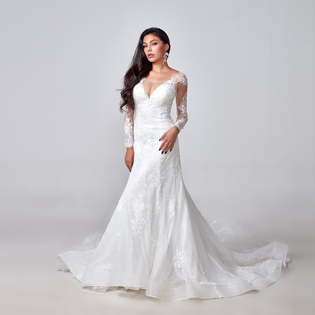 2020 Elegant Lace Appliques long Sleeve Mermaid Wedding Dress Illusion Back Vintage Bridal Gown vestido de noiva Custom Made