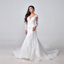 2020 elegante laço apliques manga longa sereia vestido de casamento ilusão voltar vestido de noiva do vintage feito sob encomenda