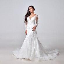 2020 zarif dantel aplikler uzun kollu Mermaid düğün elbisesi Illusion geri Vintage gelin kıyafeti vestido de noiva Custom Made