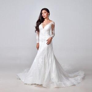 Image 1 - 2020 אלגנטי תחרת אפליקציות שרוול ארוך בת ים שמלות כלה אשליה חזרה בציר כלה שמלת vestido דה noiva תפור לפי מידה