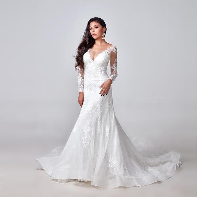 2020 אלגנטי תחרת אפליקציות שרוול ארוך בת ים שמלות כלה אשליה חזרה בציר כלה שמלת vestido דה noiva תפור לפי מידה