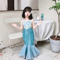 Girls Shiny Sequin Mermaid Tails Dresses Baby Girls Princess Ariel Costume Girl Dress Up Fancy Linda Dress Holiday Costume CA984