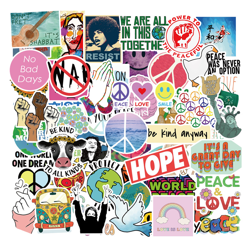 50Pcs/pack Retro Hippies Stickers Love And Peace For Motorcycle Laptop Luggage Skateboards PVC Waterproof Diary Stationery LD