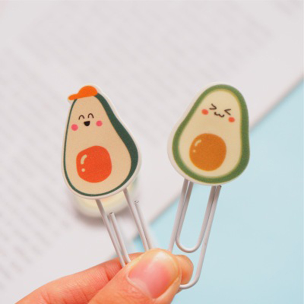 4 Pcs/pack Kawaii Avocado Smile Clip Hollow Out Metal Binder Clips Notes Letter Paper Clip Office Supplies