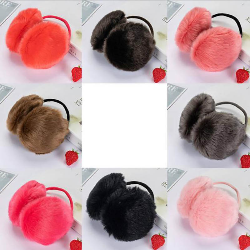 Calymel Women/Girl Fluffy Earmuffs Solid Color Winter Warm Soft Plush Earmuffs Ear Warmers Ear Muffs Earlap Wholesale