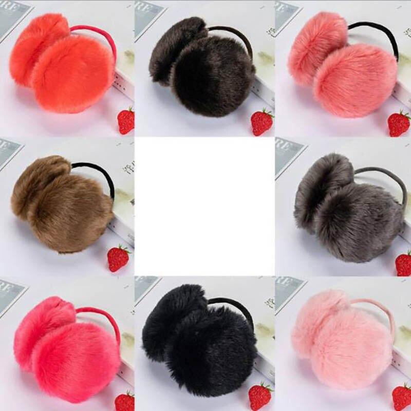 Calymel Women/Girl Fluffy Earmuffs Solid Color Winter Warm Soft Plush Earmuffs Ear Warmers Ear Muffs Earlap Wholesale