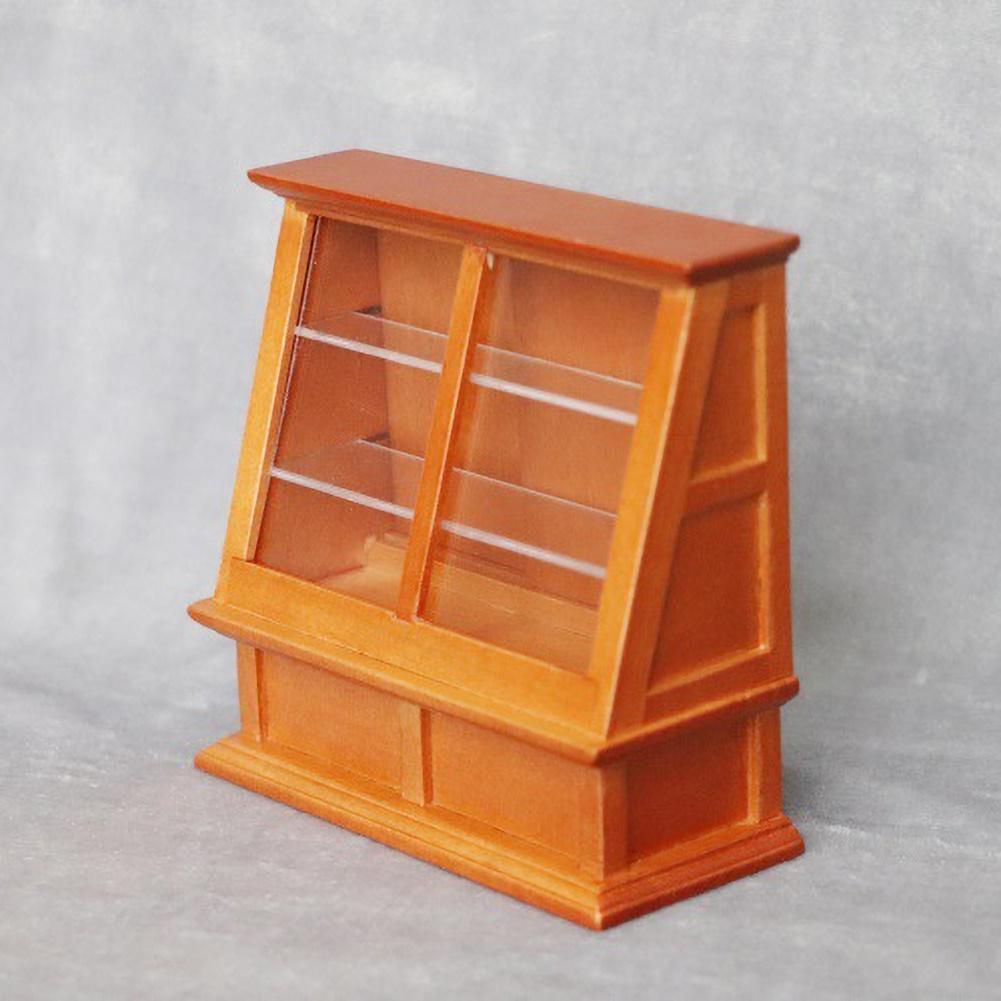 1/12 Scale Miniature Doll House Furniture Store Food Cake Shelf Display Cabinet Miniature Fine Workmanship Kids Gift